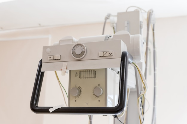 Detail of an x-ray machine in a hospital.x-ray equipment in medical center. cancer. ultrasound machine isolated on white background. medical device. medical diagnostic equipment.