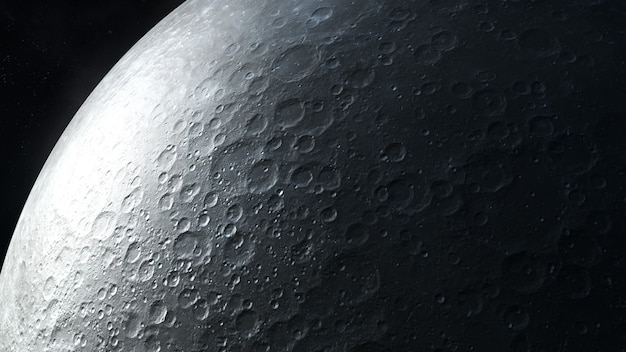 Detailed dark gray image of the moon surface closeup