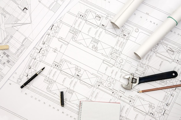 Detailed engineering drawing on paper - close up
