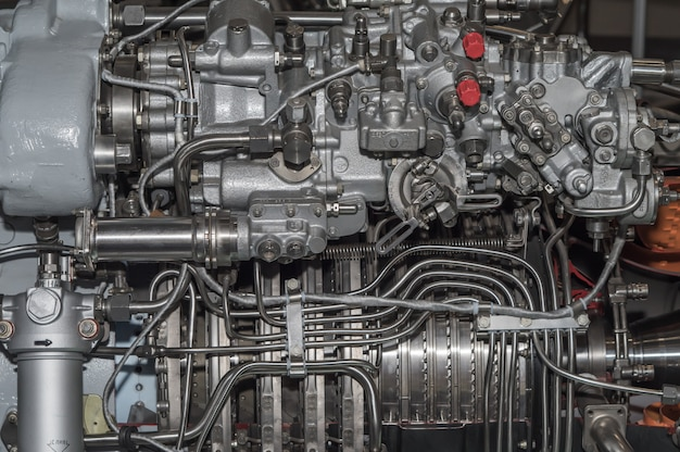 Detailed exposure of a turbo jet engine.