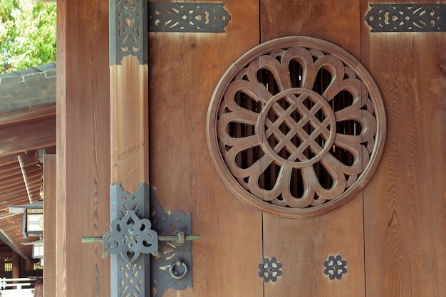 Подробный образец открытой деревянной двери японского храма в токио