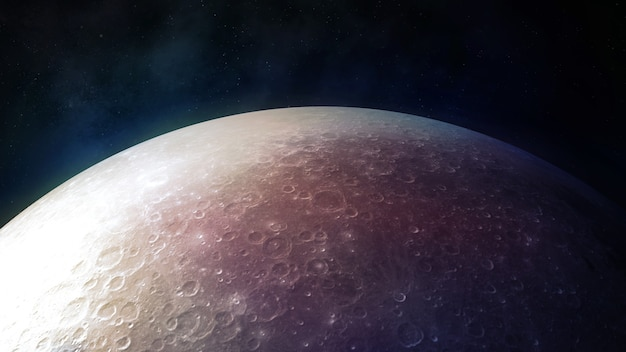 Detailed surface of the realistic moon closeup d render