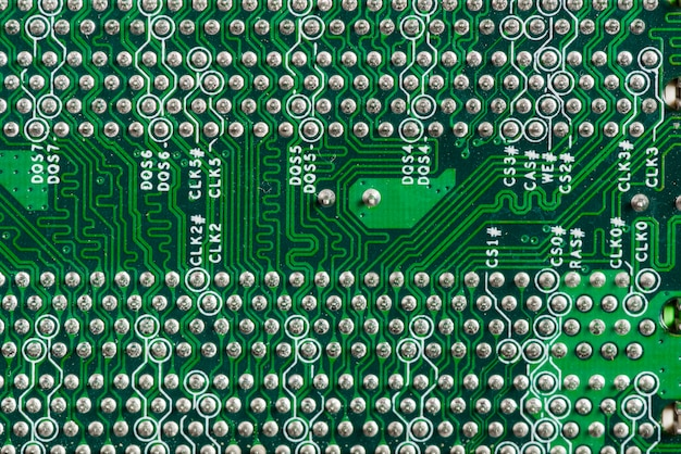 Detailed view of a computer circuit board