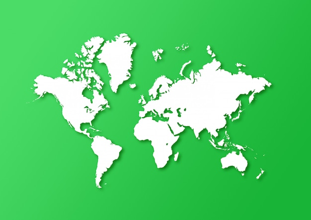 Detailed world map isolated on a green background