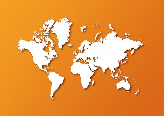Detailed world map isolated on orange background