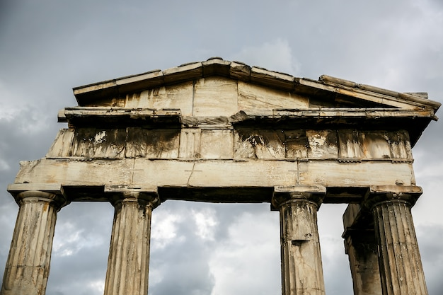 Details of ancient columns, arch in athens