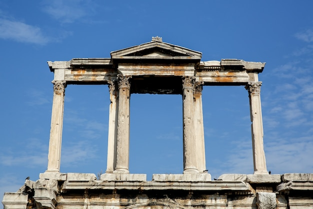 Details of ancient columns. arch in athens