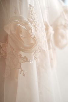 Details of the bride dress fabric and beautiful embroidery wedding