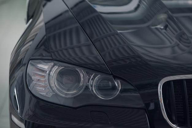 Details closeup: headlights. the icon of the bmw motor company