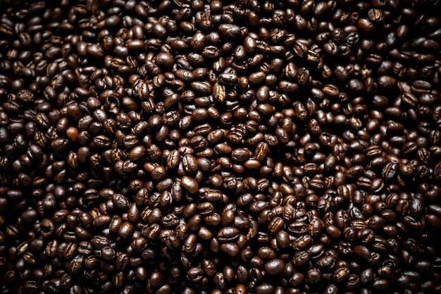 Details of coffee beans brown through the drying process with a spin machine