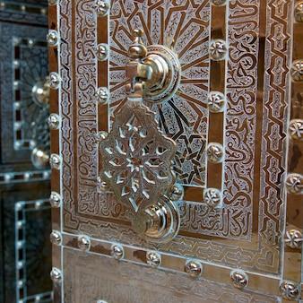 Details of a decorative door at saadian tombs, marrakesh, morocco