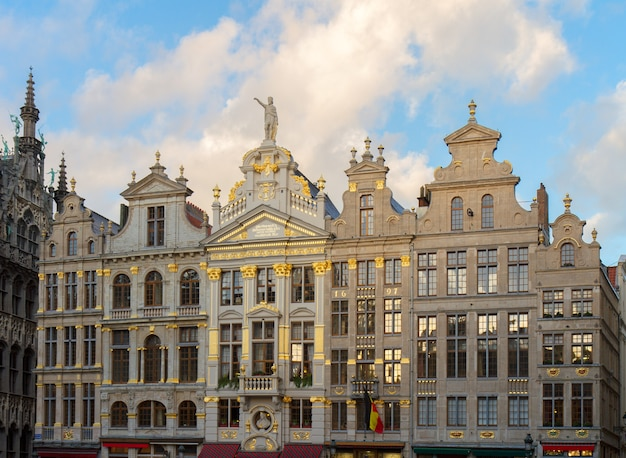 Details of giuldhalls facades grand place town square, brusseles, belgium