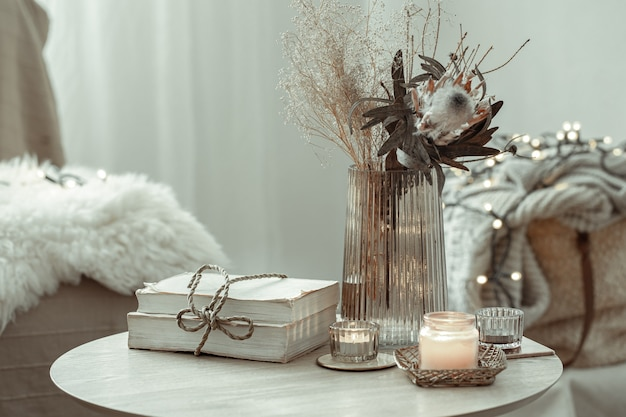 Details of home decor interior in a scandinavian style on a blurred background of the room.