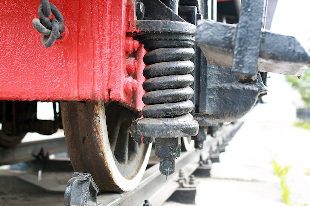 Details of the metal parts of the old vintage railway train