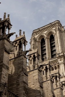 Details of the notre dame church in paris, france.