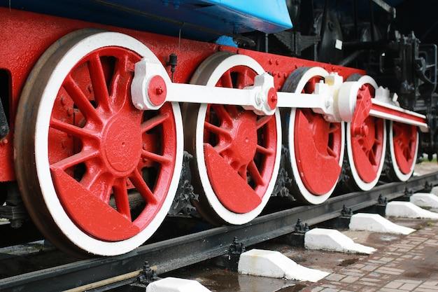 Детали металлических частей старого старинного железнодорожного поезда