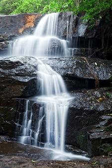 Детали водопада в тропическом лесу