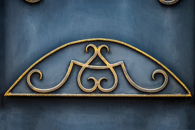 Details, and ornaments of wrought iron fence with gate