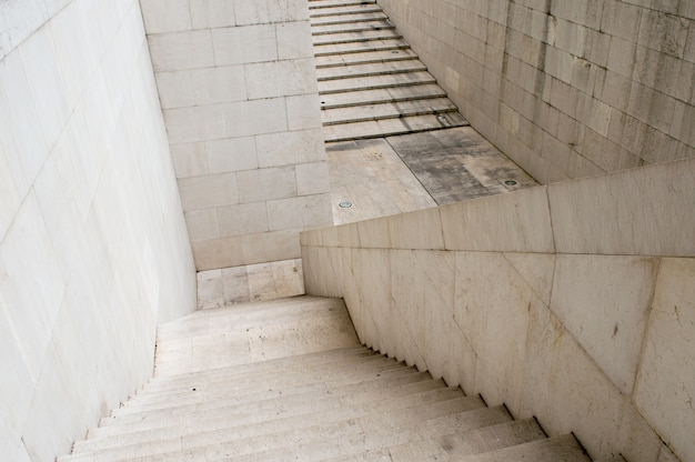 Details of railing and stairs of modern building