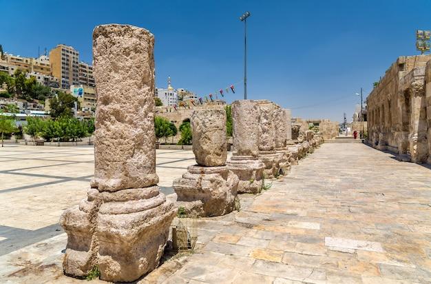 Details of roman theater in amman - jordan