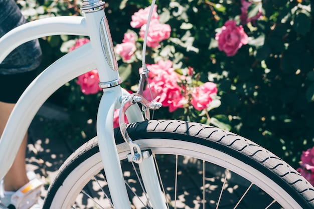 Details of a stylish bicycle against a background of bushes with roses on a sunny summer day