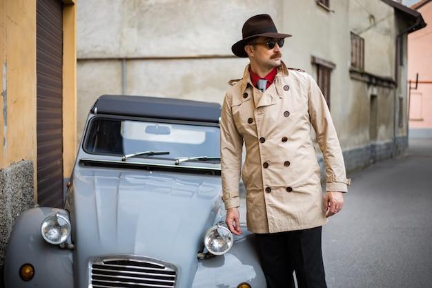 Detective walking in the city slums