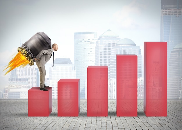 Determined businessman wants to rises quickly the statistics