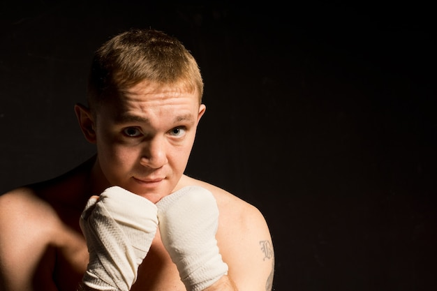 Determined young boxer