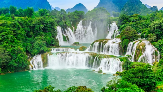 Detian falls in guangxi, china and banyue falls in vietnam