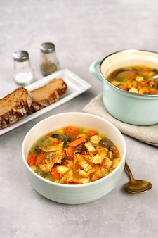 Detox cabbiage soup in a white bowl