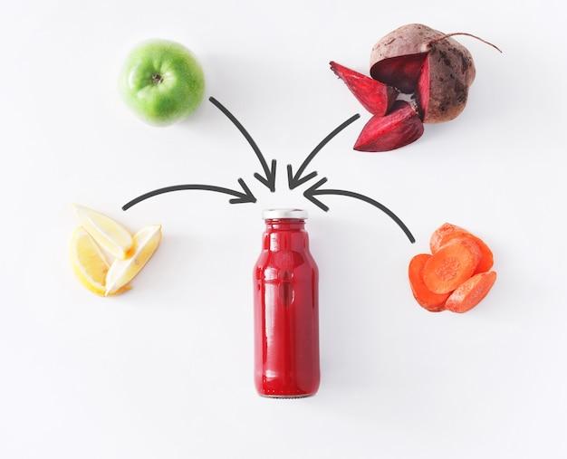デトックスクレンズドリンクコンセプト、野菜のスムージーの成分。減量ダイエットや空腹時のボトルに入った自然で有機的な健康ジュース。ビートルート、リンゴ、ニンジン、レモンミックス白で隔離