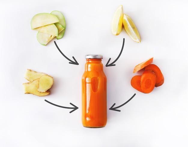 デトックスクレンズドリンクコンセプト、野菜のスムージーの成分。減量ダイエットや空腹時のボトルに入った自然で有機的な健康ジュース。にんじん、リンゴ、生姜、レモンミックス白で隔離