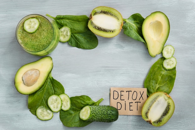 Detox day, diet food, weight loss, healthy eating with vitamins