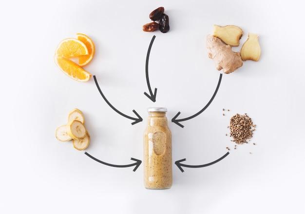 デトックスドリンクのコンセプト、スムージーの食材のコラージュ。減量ダイエットや空腹時のボトルに入った自然で有機的な健康ジュース。バナナ、日付フルーツ、オレンジ、ジンジャーミックスの分離
