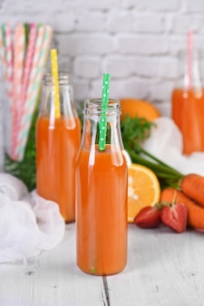 Detox drink. freshly made carrot strawberry orange juice