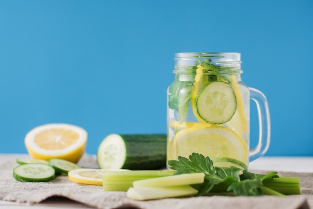 Detox drink with cucumber and lemon