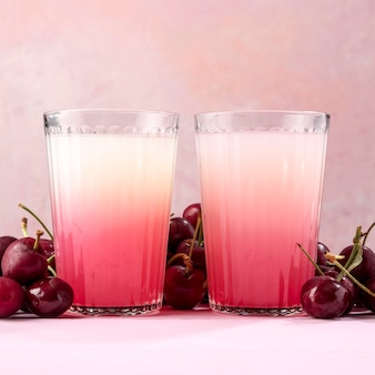 Detox drink with fresh cherries