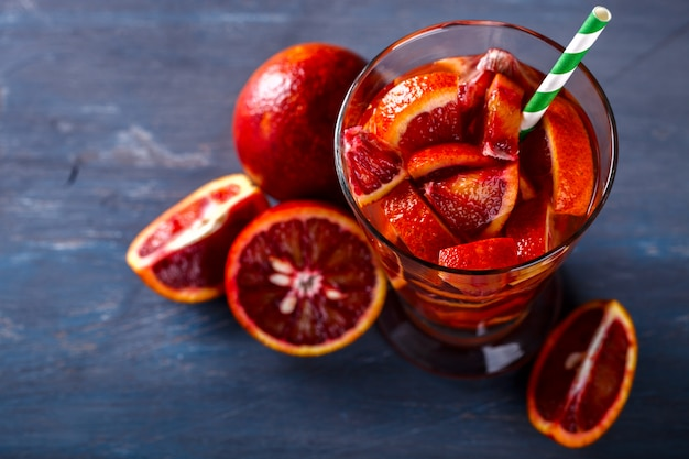Detox infused water with blood orange.summer party drink.