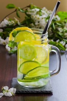 Detox infused water with cucumber and lemon