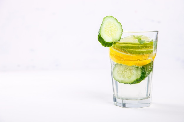 Detox infused water with lemon.summer party drink.