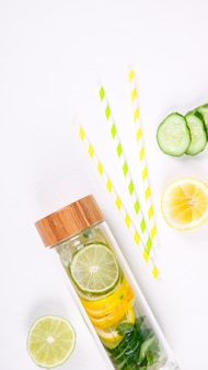 Detox infused water with lemon. summer refreshing drink.n.selective focus.