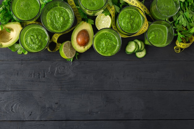 Detox ingredients for cooking diet food with green smoothies