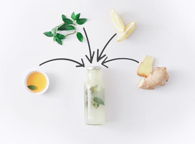 デトックスレモネードドリンクコンセプト、スムージーの食材をコラージュします。減量ダイエットや空腹時のボトルに入った自然で有機的な健康ジュース。分離されたミント、蜂蜜、レモン、ジンジャーミックス
