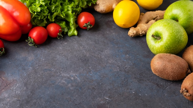 Detox surface  fruit and vegetables. diet concept.