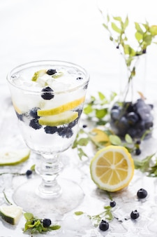 Detox water cocktail. summer refreshing drink.