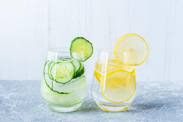 Детокс-водный напиток с огурцом и лимоном.