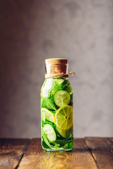 Detox water infused with sliced lemon, cucumber and fresh sprigs of mint
