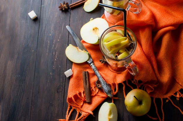 Detox water with apples and spices - anise, cinnamon