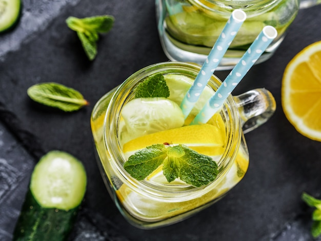 Detox water with cucumber, lemon and mint