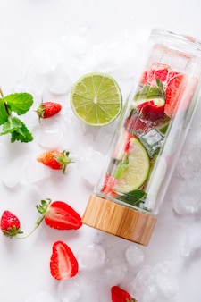 Detox with ice. summer drink for parties.